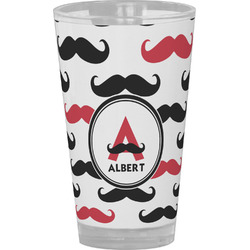 Mustache Print Drinking / Pint Glass (Personalized)