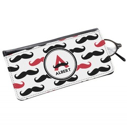 Mustache Print Genuine Leather Eyeglass Case (Personalized)
