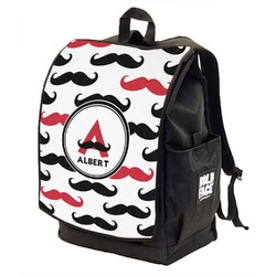 Mustache Print Backpack w/ Front Flap  (Personalized)