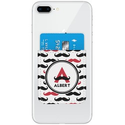 Mustache Print Genuine Leather Adhesive Phone Wallet (Personalized)