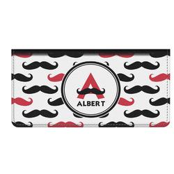 Mustache Print Genuine Leather Checkbook Cover (Personalized)