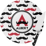 Mustache Print Round Glass Cutting Board (Personalized)