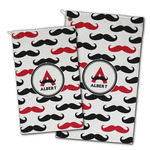Mustache Print Golf Towel - Full Print w/ Name and Initial