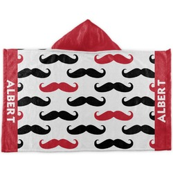 Mustache Print Kids Hooded Towel (Personalized)
