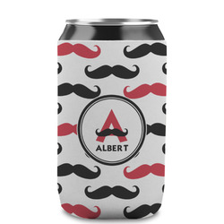 Mustache Print Can Sleeve (12 oz) (Personalized)