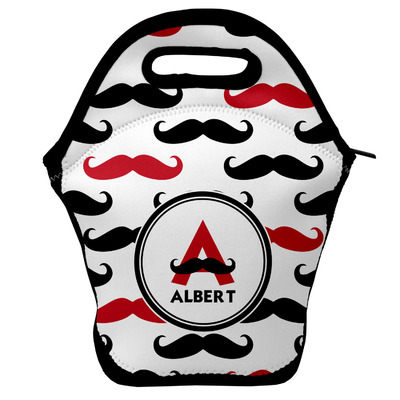Mustache Print Lunch Bag w/ Name and Initial