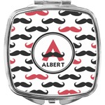 Mustache Print Compact Makeup Mirror (Personalized)