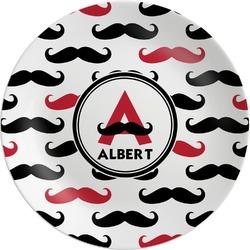 Mustache Print Melamine Plate (Personalized)