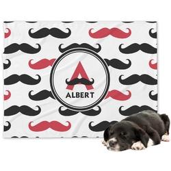 Mustache Print Minky Dog Blanket (Personalized)