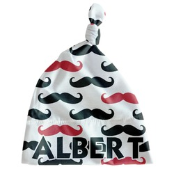 Mustache Print Newborn Hat - Knotted (Personalized)