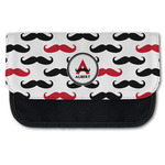 Mustache Print Canvas Pencil Case w/ Name and Initial