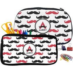 Mustache Print Pencil / School Supplies Bag (Personalized)