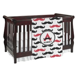 Mustache Print Baby Blanket (Personalized)
