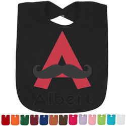 Mustache Print Bib - Select Color (Personalized)