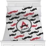 Mustache Print Minky Blanket (Personalized)