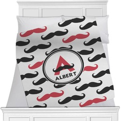 "Mustache Print Fleece Blanket - Twin / Full - 80""x60"" - Single Sided (Personalized)"