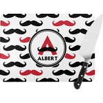 Mustache Print Rectangular Glass Cutting Board (Personalized)