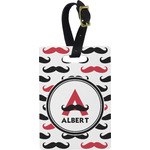 Mustache Print Plastic Luggage Tag - Rectangular w/ Name and Initial