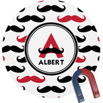 Mustache Print Round Magnet (Personalized)