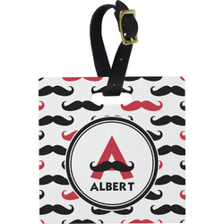 Mustache Print Square Luggage Tag (Personalized)