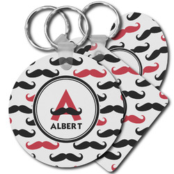 Mustache Print Plastic Keychains (Personalized)