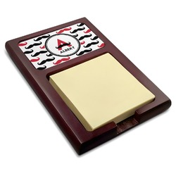 Mustache Print Red Mahogany Sticky Note Holder (Personalized)