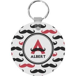 Mustache Print Round Keychain (Personalized)