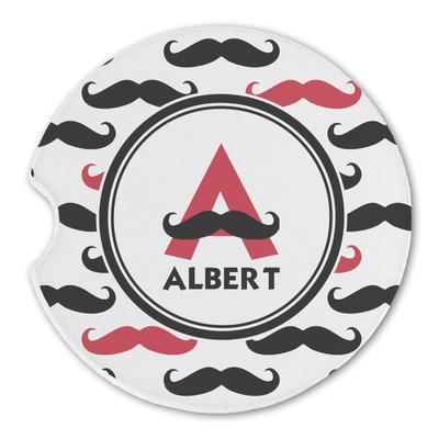 Mustache Print Sandstone Car Coasters (Personalized)