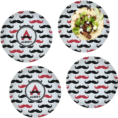 """Mustache Print Set of 4 Glass Lunch / Dinner Plate 10"""" (Personalized)"""
