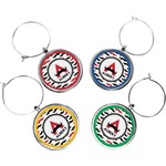 Mustache Print Wine Charms (Set of 4) (Personalized)