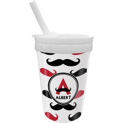 Mustache Print Sippy Cup with Straw (Personalized)
