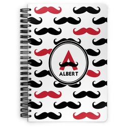 Mustache Print Spiral Bound Notebook (Personalized)