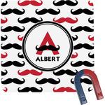 Mustache Print Square Fridge Magnet (Personalized)