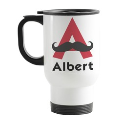 Mustache Print Stainless Steel Travel Mug with Handle