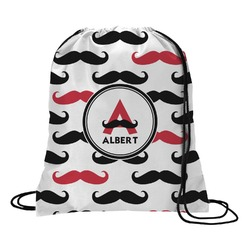 Mustache Print Drawstring Backpack - Large (Personalized)