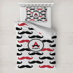 Mustache Print Toddler Bedding w/ Name and Initial