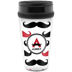 Mustache Print Travel Mug (Personalized)