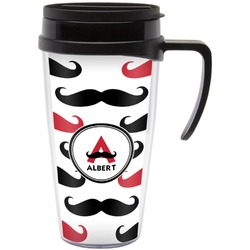 Mustache Print Travel Mug with Handle (Personalized)
