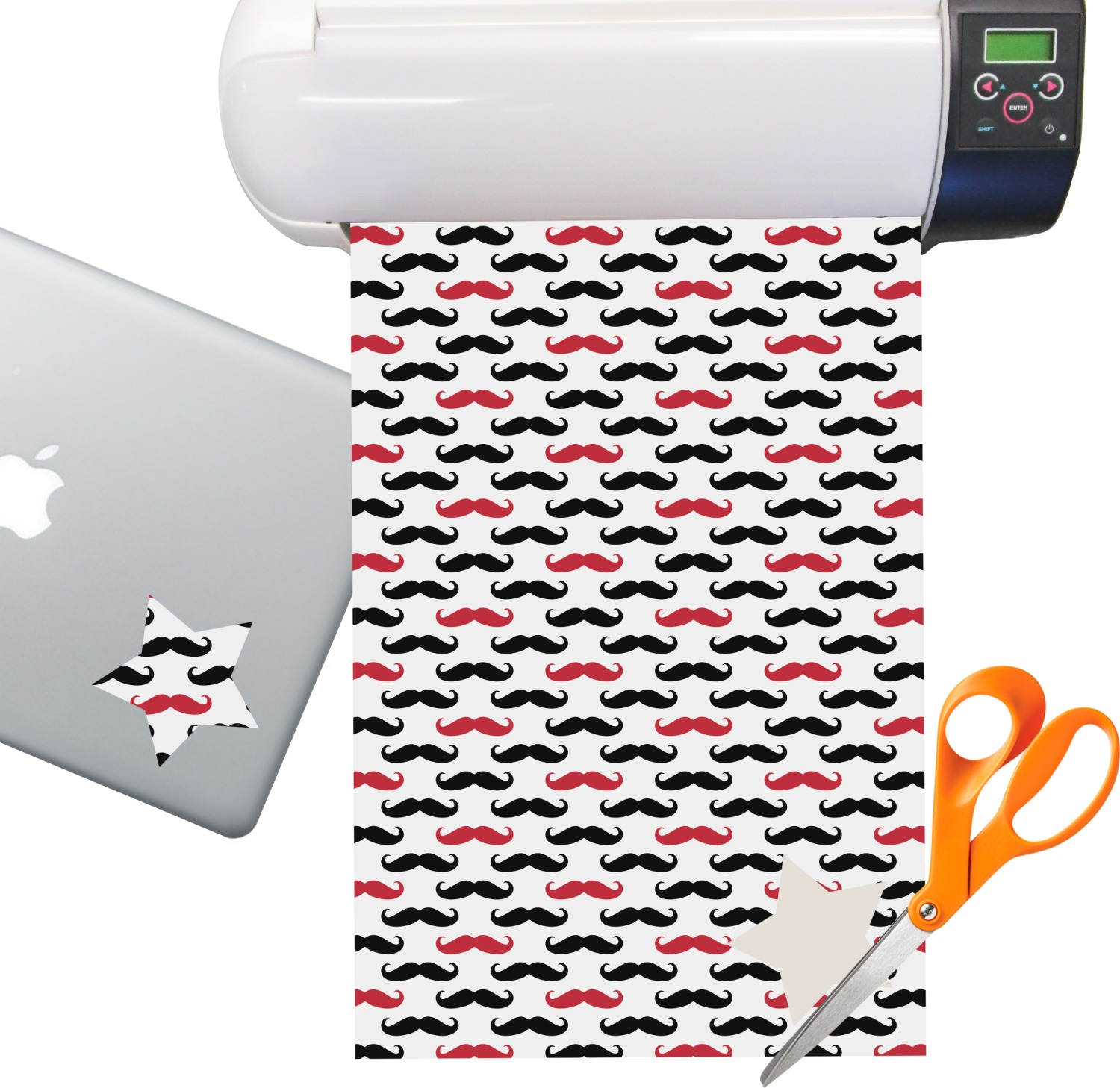Mustache Print Sticker Vinyl Sheet Permanent