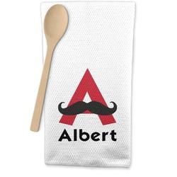 Mustache Print Waffle Weave Kitchen Towel (Personalized)