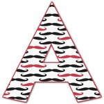 Mustache Print Letter Decal - Custom Sized (Personalized)