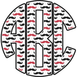 Mustache Print Monogram Decal - Custom Sized (Personalized)