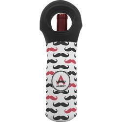 Mustache Print Wine Tote Bag (Personalized)