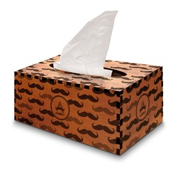 Mustache Print Wooden Tissue Box Cover - Rectangle (Personalized)