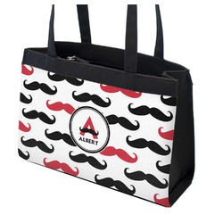 Mustache Print Zippered Everyday Tote (Personalized)