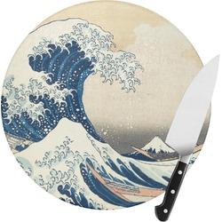 Great Wave of Kanagawa Round Glass Cutting Board - Small