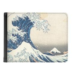 Great Wave off Kanagawa Genuine Leather Men's Bi-fold Wallet