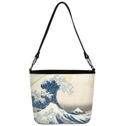 Great Wave of Kanagawa Bucket Bag w/ Genuine Leather Trim