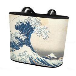 Great Wave off Kanagawa Bucket Tote w/ Genuine Leather Trim