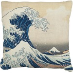 Great Wave of Kanagawa Faux-Linen Throw Pillow